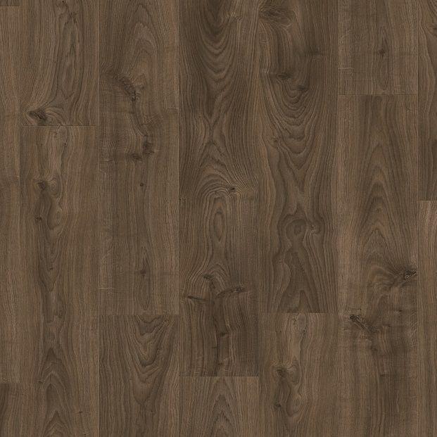 Виниловый пол для кухни, ванной Quick Step LIVYN BALANCE CLICK Дуб котедж темно-коричневый 40027 с фаской