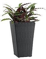 Горщик садовий чорний (штучний ротанг) висота 50см