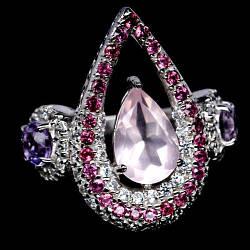 Розовый кварц, серебро 925, кольцо, 1538КЦР