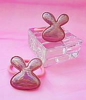 Резинка для волос экокожа Розовый зайчик Набор 2  штуки