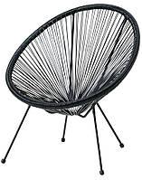 Лаунж кресло круглое садовое черное