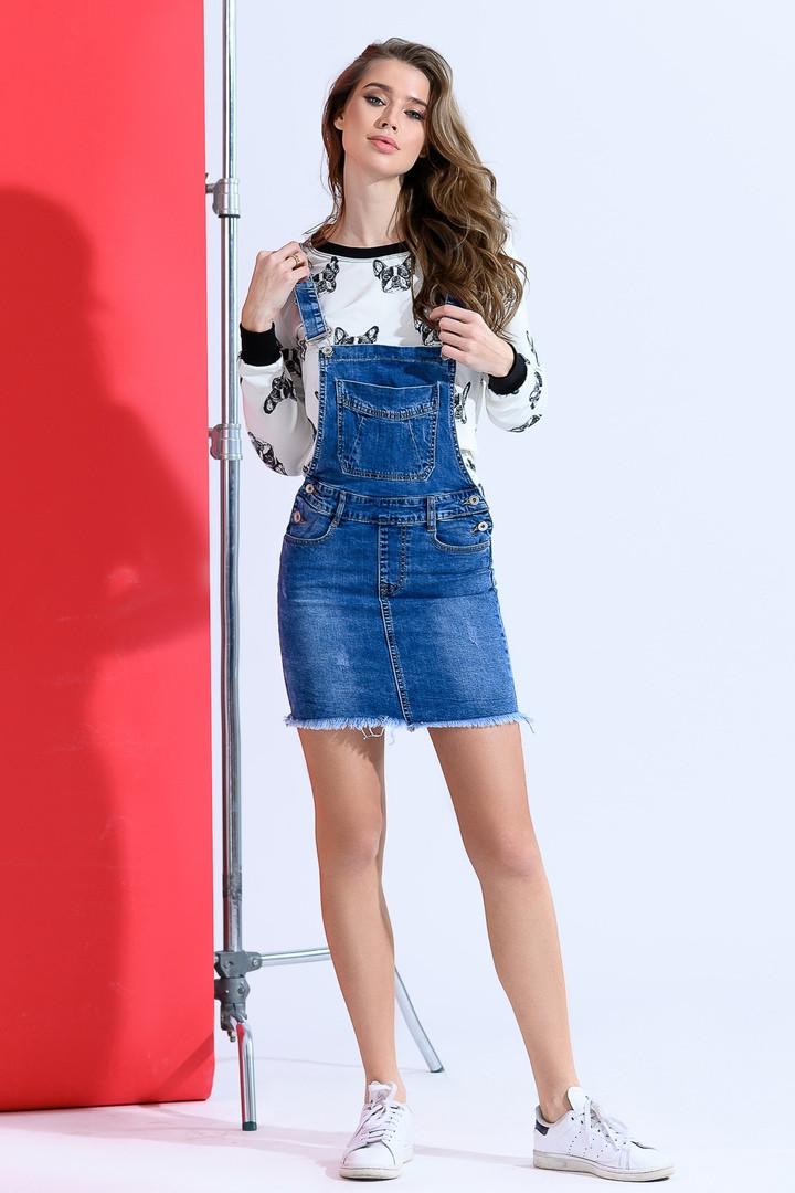 Стильная джинсовая юбка- комбинезон  42-50р.
