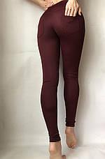 Бордовые лосины женские с замочками (норма) №43 Б, фото 3
