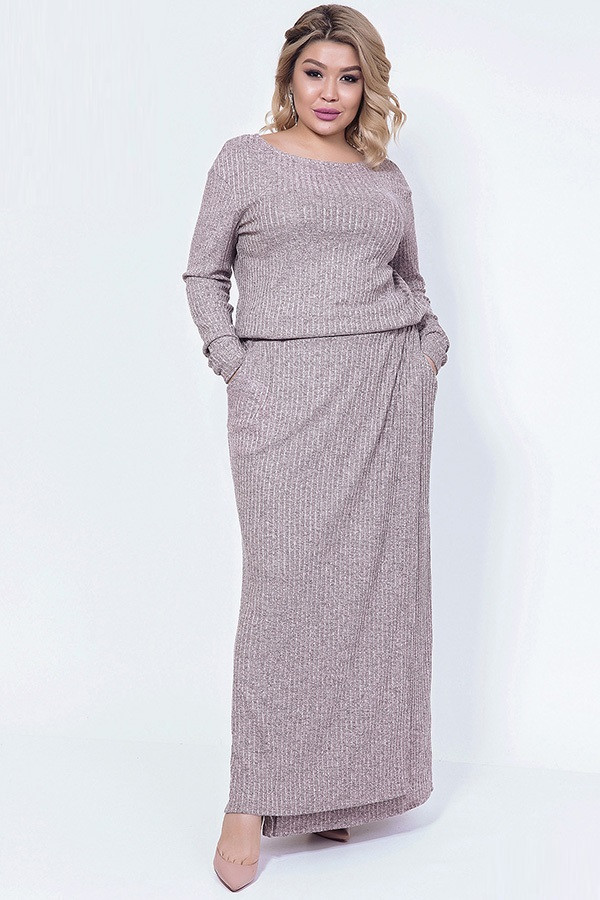 Длинное вязаное платье с поясом 4337 (48–52р) в расцветках