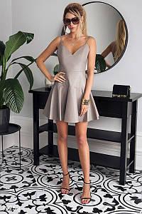 Стильное платье короткое юбка солнце клеш без рукав на бретелях кожа бежевого цвета