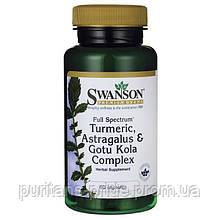 Комплекс для імунітету Куркума, Астрагал і Готу Кола, Swanson, Turmeric, Astragalus Gotu Kola Complex, 60 кап