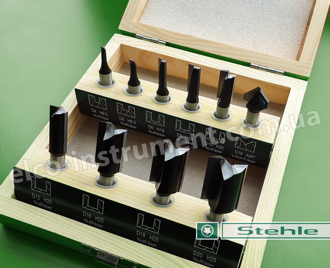 Набір кінцевих пазових фрез Stehle для ручного фрезера, 10 шт.