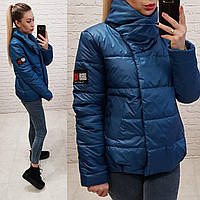 Куртка весна/осень, плащевка лак, модель 1004, цвет- аква
