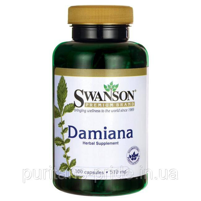 Листья Дамианы, Damiana Leaves, Swanson, 510 мг, 100 капсул