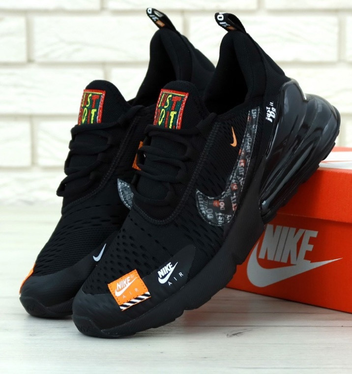 Мужские кроссовки Air Max 270 Just Do it black, голубой знак. Живое фото. Реплика