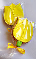 """Оригинальная выпечка к 8 марта - расписной медовый имбирный пряник """"Тюльпан"""""""