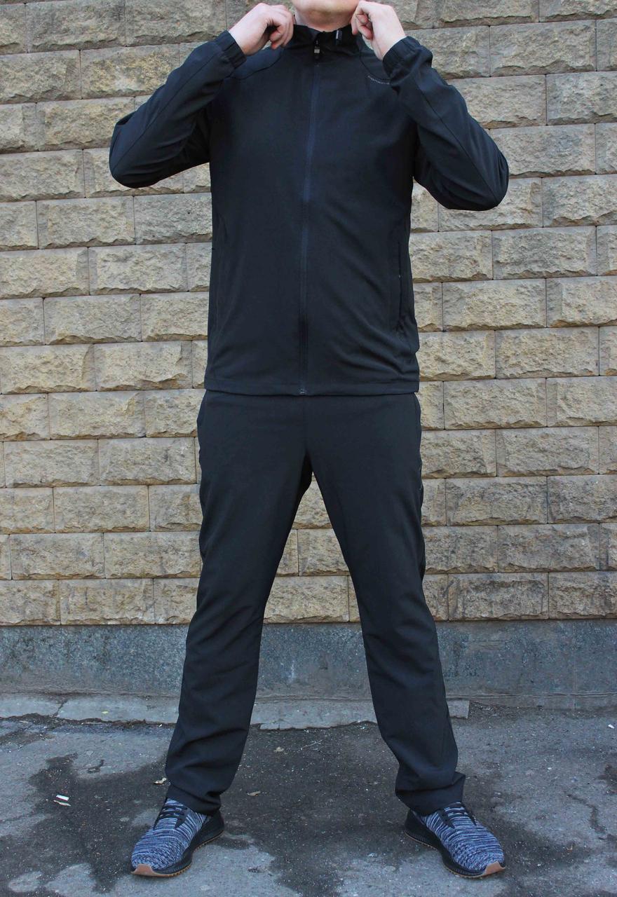 Прямой чёрный мужской спортивный костюм Adidas Porsche Design  плащевка (Реплика)