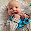 Игрушка-прорезыватель Matchstick Monkey Танцующая Обезьянка (цвет синий, 14 см), фото 4