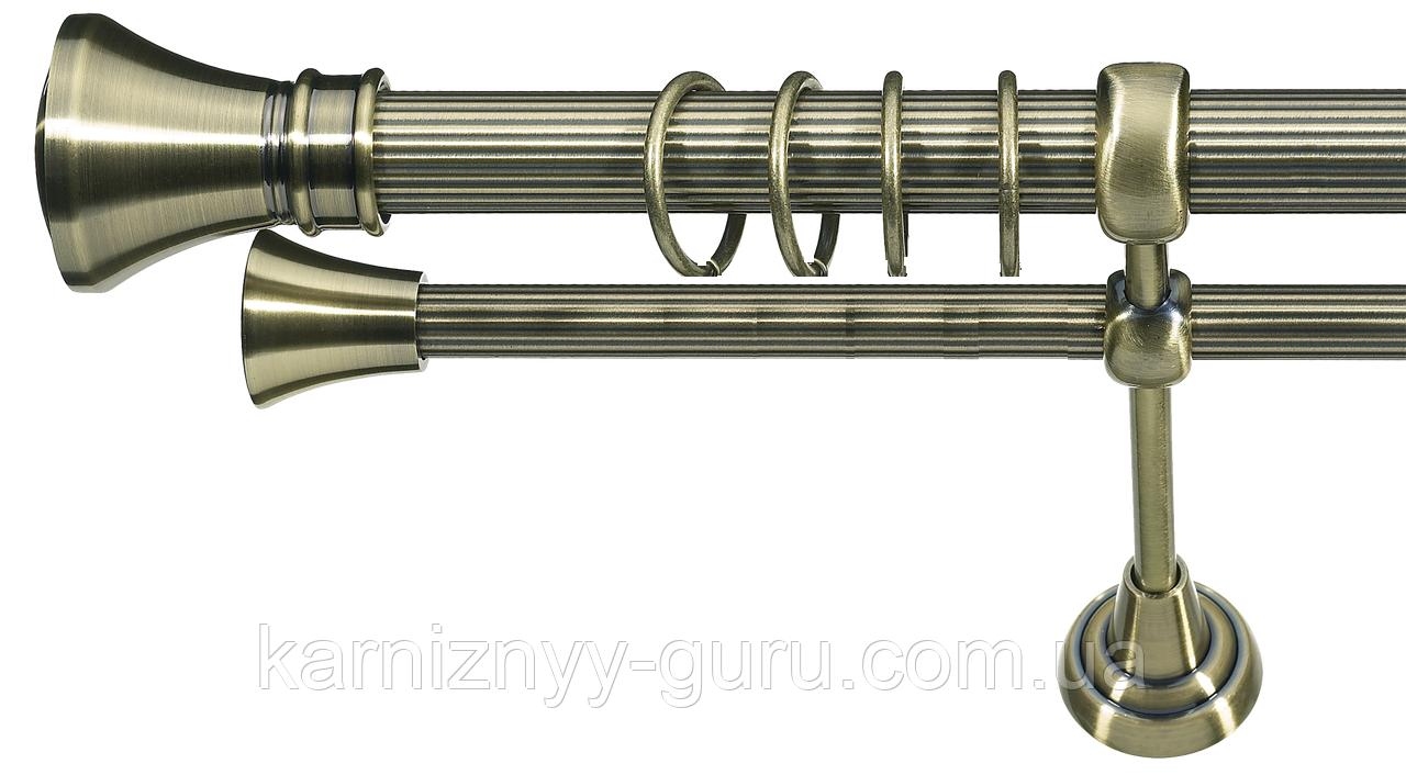 Карниз для штор двойной ø 25+16 мм, наконечник Люксор