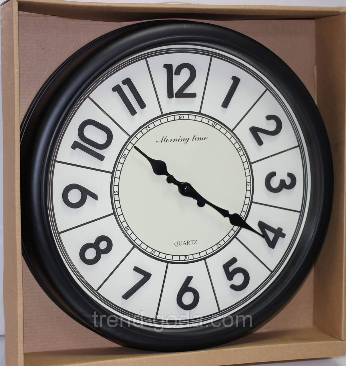 Часы круглые настенные с большими цифрами, диаметр 39 см, черные