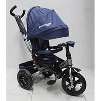 Детский трехколесный велосипед - коляска с поворотным сиденьем Azimut Crosser T400 TRINITY AIR, синий