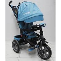 Детский трехколесный велосипед коляска с поворотным сиденьем Azimut Crosser T400 TRINITY AIR голубой