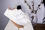 Белые женские кожаные кеды с бежевыми вставками, фото 4