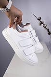 Белые женские кожаные кеды с бежевыми вставками, фото 5