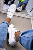 Белые женские кожаные кеды с бежевыми вставками, фото 6