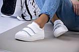 Белые женские кожаные кеды с бежевыми вставками, фото 9