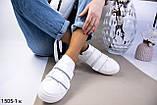 Белые женские кожаные кеды с бежевыми вставками, фото 8