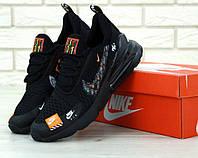 Мужские удобные кроссовки Nike Air Max 270 Just Do It Black черного цвета (Найк Аир Макс) весна/лето