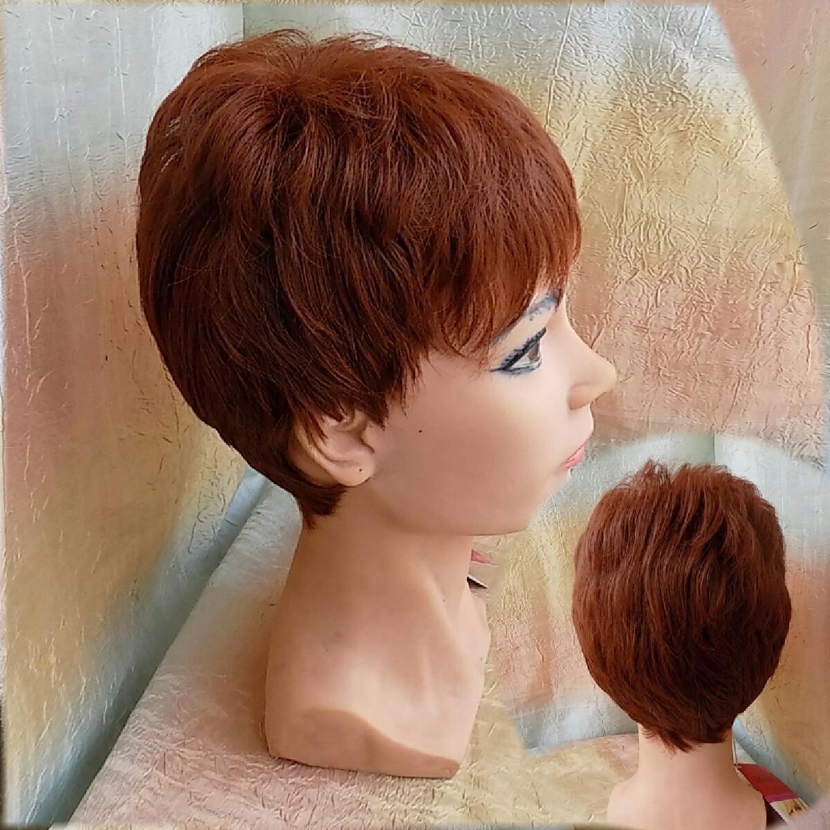 Короткий парик из термоволокна красно-каштановый 2763t-33А