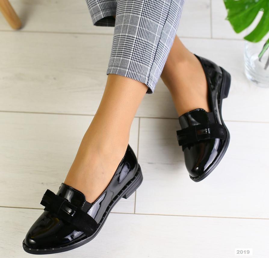 396312259 Стильные женские кожаные лаковые туфли на низком ходу на квадратном каблуке  черные бант 2019 W30BS20F -