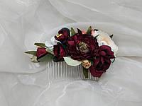 Гребінець для волосся з квітами бордовий з молочним і персиковим