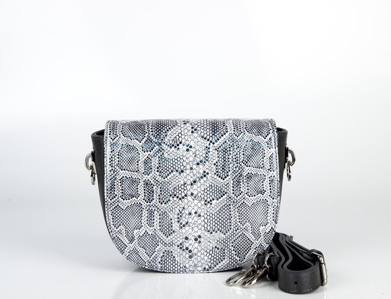 Шкіряна сумка жіноча сіра з тисненням Assa 1096-1