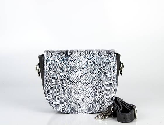 Шкіряна сумка жіноча сіра з тисненням Assa 1096-1, фото 2