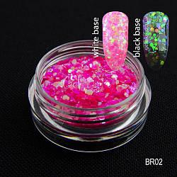 Брокат голографический для декора ногтей, BR02