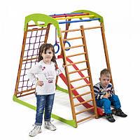 Акция! Деревянный Детский спортивный комплекс с горкой для дома Спортбейби BabyWood Plus 1 SportBaby