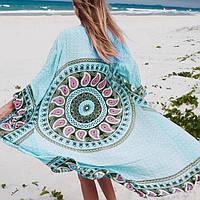 Длинная пляжная туника-халатик голубая с узорами, фото 1