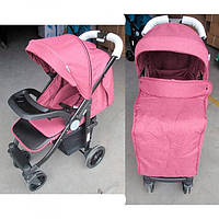 Всесезонная детская прогулочная коляска книжка El Camino Tempo  розовая