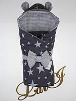 Демисезонный конверт-одеяло Микки, темно-серый/белый, звезды