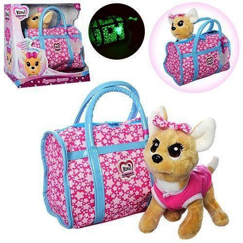Собачка в сумочке Кикки (аналог Chi Chi Love) M 3835-N-UA сумка, бант светятся в темноте укр. яз.