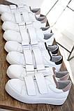 Белые женские кожаные кеды с бежевыми вставками, фото 10
