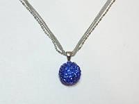 Кулон  белый металл, синие стразы 9_7_99a4