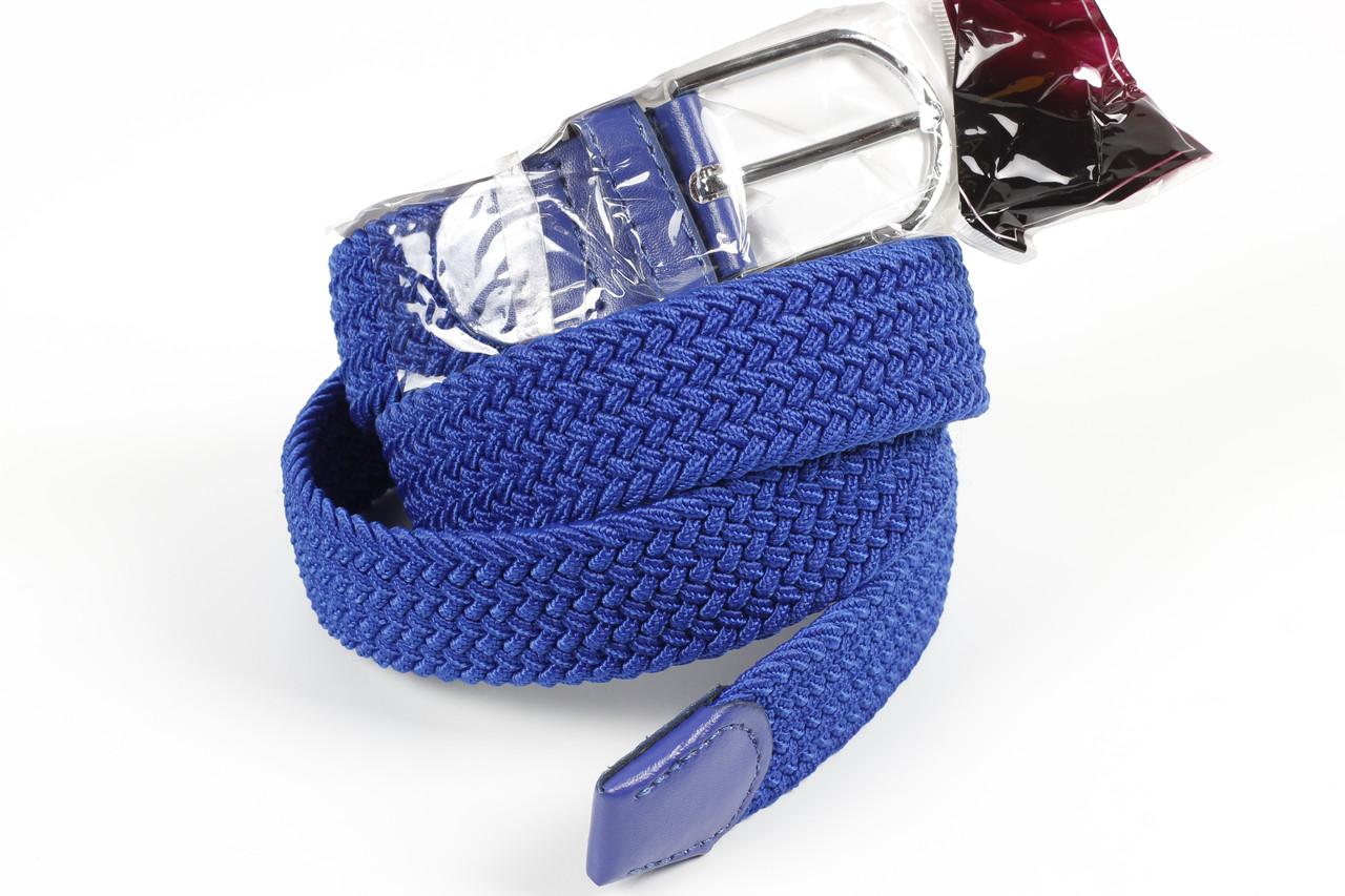 Ремень плетенка резинка на шпеньке 35 мм ярко-синий