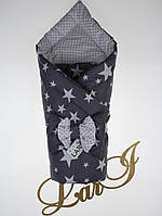 """Демисезонный конверт-одеяло """"Звезды"""", темно-серый/белый, звезды"""