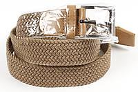Ремень плетенка резинка на шпеньке 35 мм бежевый, фото 1