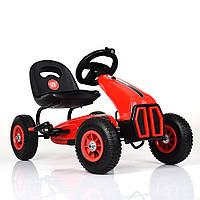 Детский педальный карт на надувных колесах, Bambi M 3857AL-3 красный Детская машина на педалях
