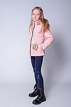 Красивая детская деми куртка с цветком 128-146