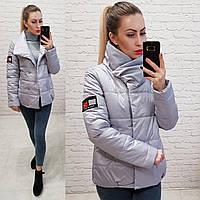 Куртка весна/осень, плащевка лак, модель 1004, цвет - серый