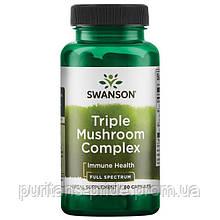 Потрійний грибний комплекс Рейші, Шиітаке, maitake смажені гриби / Triple Mushroom Complex, 600 мг 60 капсул