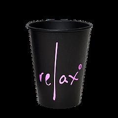 Стакан бумажный RELAX Черный 400мл. 50шт/уп (1ящ/16уп/800шт) (КВ90/РОМБ90)