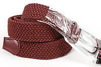 Ремень плетенка резинка на шпеньке 35 мм бордовый