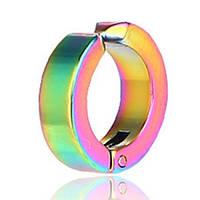 Серьга клипса (1 шт.) для имитации пирсинга ушей (без прокола). Сталь 316L, радужное анодирование.